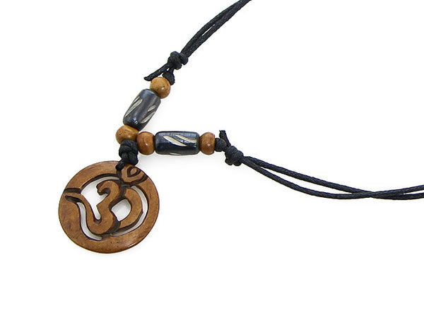 Yoga Necklace with Cut Out Om Symbol Pendant