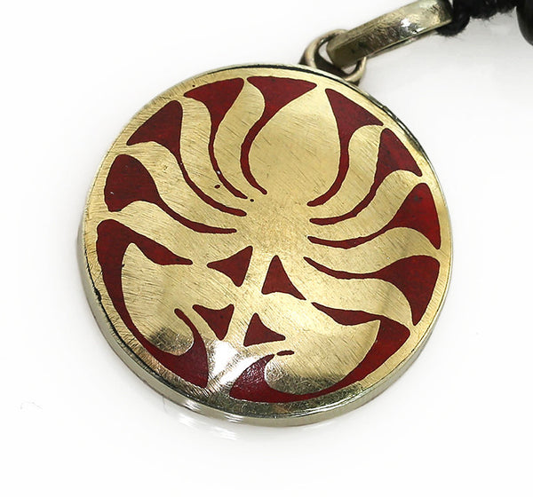 Yoga Pendant with Brass and Coral Lotus