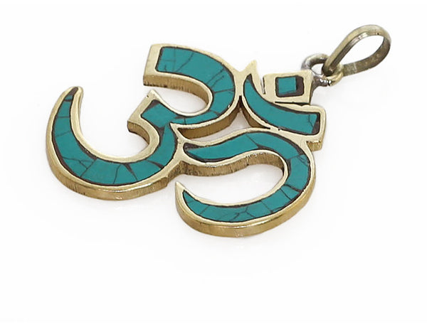 Yoga Pendant Turquoise and Brass Om Symbol Side View