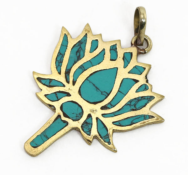 Yoga Pendant with Turquoise Lotus In Brass