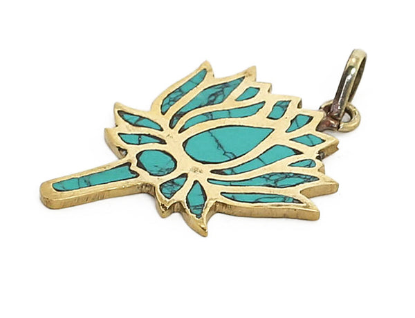 Yoga Pendant with Turquoise Lotus in Brass Side View