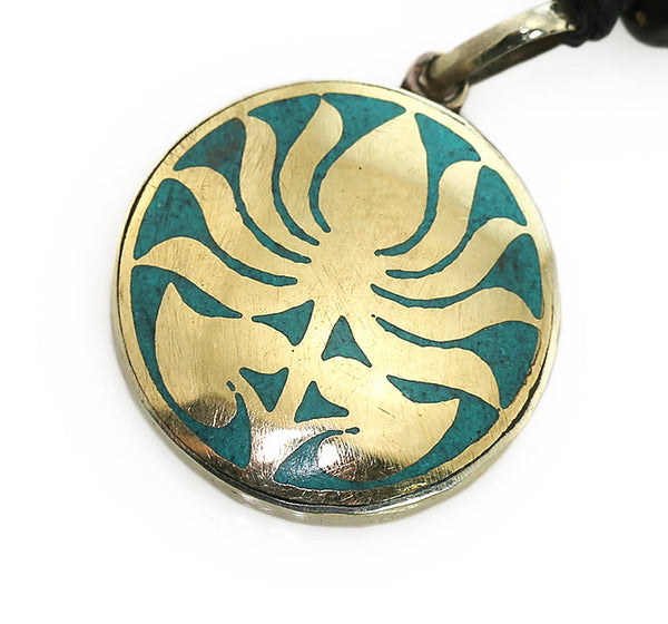 Yoga Pendant with Turquoise and Brass Lotus Design