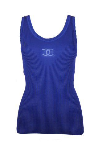 Chanel Cobalt Blue Ribbed Tank with Logo, SS2010, Size US 8