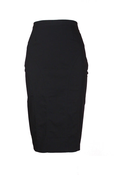 Jean Paul Gaultier Black Wool Stretch Pencil Skirt, c. 90's, 25 W