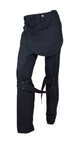 Vivienne Westwood Grey Pinstripe Bondage Pants with Pouch, Size 46 IT