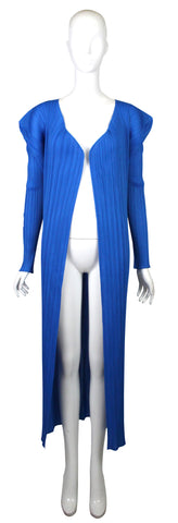 Issey Miyake Cobalt Blue Pleated Robe with Pockets, SS94, Size M/L