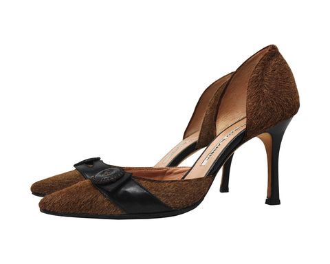 Manolo Blahnik Brown Calf Hair Pointed Toe Pumps, Size 36 EU