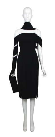 "Alexander McQueen Black Dress with Sashes, SS01 ""Voss"", Size 40 IT / US 4"