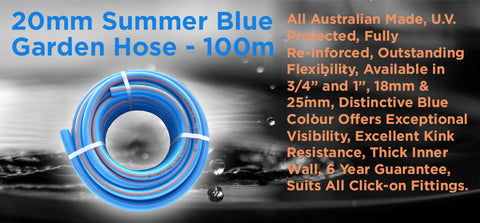 20mm Summer Blue Garden Hose - 100m - turfmate