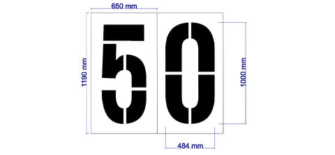 AFL 50m Arc Numbers - 1000mm - turfmate