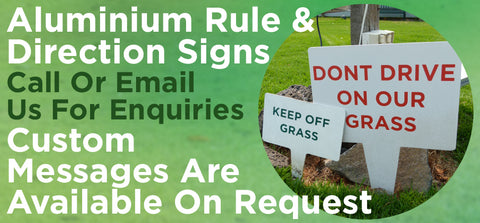 Aluminium Rule and Direction Signage - turfmate