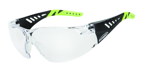 Biosphere Safety Glasses - Black / Green Temple Clear Lens