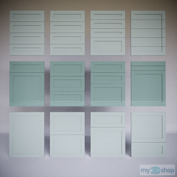 PYTHA V24 Drawer Fronts Shaker Equal Rails