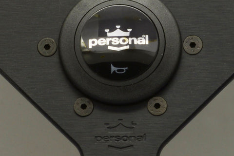Personal Grinta 350mm Black Leather / Black stitching / Silver horn
