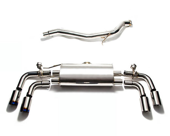 ARMYTRIX Stainless Steel Valvetronic Catback Exhaust System Quad Matte Black Tips Audi TT | TTS Quattro MK2 8J 4WD 07-14