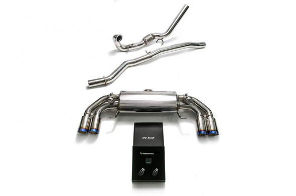 ARMYTRIX Stainless Steel Valvetronic Catback Exhaust System Quad Blue Coated Silver Tips Audi S1 8X 2.0L Turbo 15-17