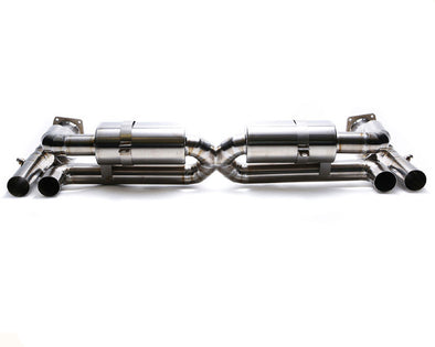 ARMYTRIX Stainless Steel Valvetronic Exhaust System Quad Chrome Silver Tips Porsche 997 Turbo 07-09