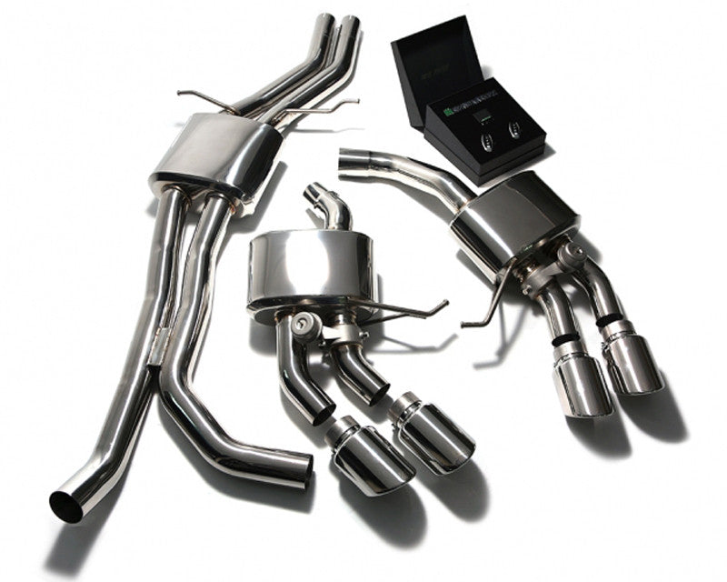 ARMYTRIX Stainless Steel Valvetronic Exhaust System Quad Chrome Silver Tips Porsche Macan S | GTS | Turbo 15-17