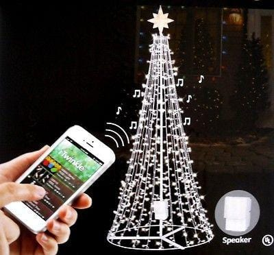 GE iTwinkle 7.5' Musical Outdoor/Indoor Christmas Tree Bluetooth 300 Lights NEW