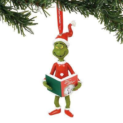 Dept 56 Grinch 2018 Grinch w/The Book Ornament #6000300 NEW FREE SHIP 48 STATES   2018