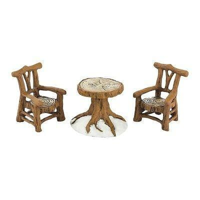 Dept 56 Woodland Table & Chairs Set/3 #4033838 NEW FREE SHIPPING 48 STATES