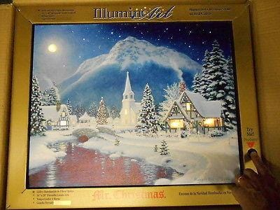 "Mr. Christmas Illuminart Canvas Christmas Village 16"" x 20"" #10812 NEW"