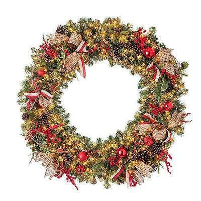 Pre-Lit Decorated Christmas Wreath 5' Beautiful NEW CLEARANCE CLEARANCE