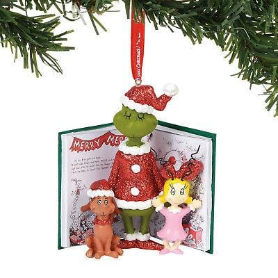 Dept 56 Grinch 2018 Grinch, Cindy & Max Book Ornament #6000301 NEW FREE SHIPPING   2018
