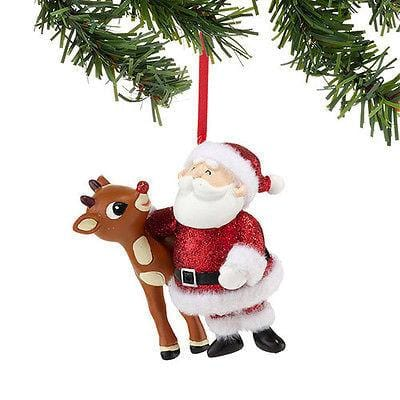 Dept 56  Rudolph Glitter Santa & Rudoph Ornament #4033605 NIB FREE SHIP OFFER 48
