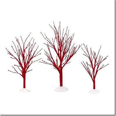 Dept 56 Red Bare Branch Trees Set/3 #4033833 NEW FREE SHIPPING 48 STATES