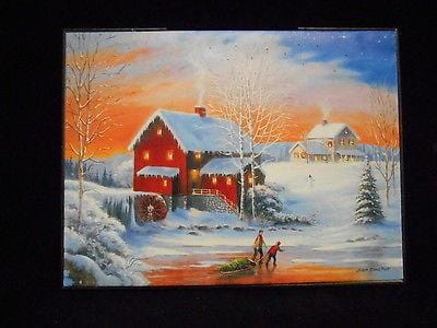 "Mr. Christmas Illuminart Reversible Canvas Mill 12"" x 16"" #10262M 8 NEW"