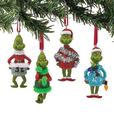Dept 56 Grinch 2015 Grinch In Ugly Sweater Ornament Set/4 #4052908    FREE SHIP