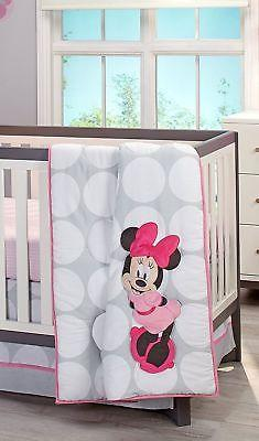 Disney Baby 4 Pc Minnie Mouse Polkadots Crib Bedding Set Pink/Gray NEW