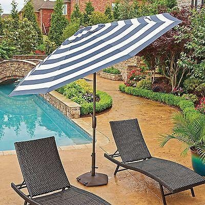 10' Market Umbrella Sunbrella Fabric w/Auto Tilt Navy Blue/White Stripe NEW