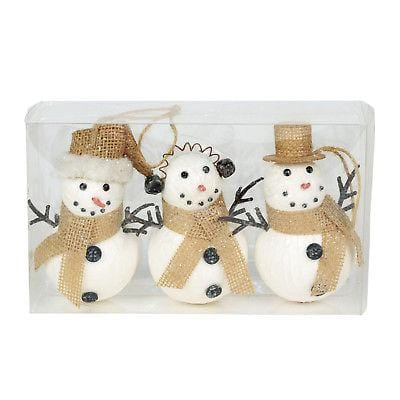 Dept 56 Christmas Basics Jolly Snowman Ornaments Set/3 #6002543 NEW FREE SHIP    2018