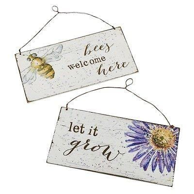 Dept 56 Let It Bee Garden Sign Set/2 #4050855 NEW FREE SHIP 48
