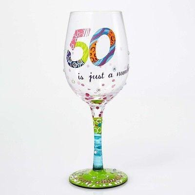 Lolita Wine Glasses 50 Is Just A Number #GLS11-5534D NIB FREE SHIPPING 48 STATES