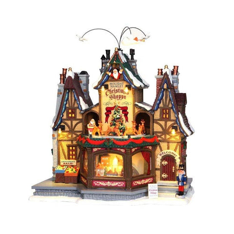 Lemax Village Collection Holiday Hamlet Christmas Shoppe with Adapter # 55026    Free Shipping 48 States