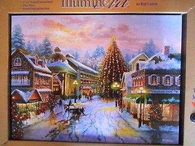 "Mr. Christmas Illuminart Canvas Town Square Cheer 12"" x 16"" #10748 NEW"