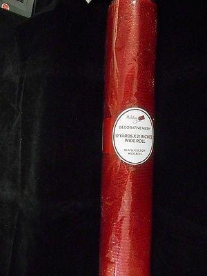 "Holiday Decorative Designer Mesh Roll/Ribbon NEW 12 Yds x 21"" Red"