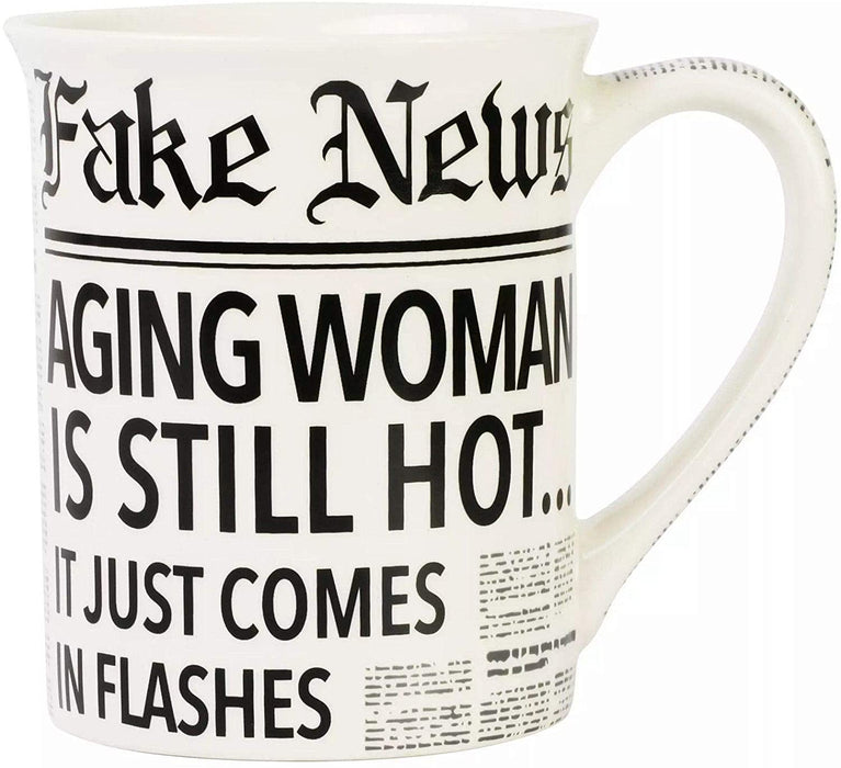 Enesco Our Name is Mud Fake News Aging Woman Hot Flashes Coffee Mug   #6008715  Free Shipping