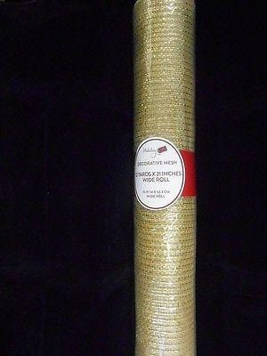 "Holiday Decorative Designer Mesh Roll/Ribbon NEW 12 Yds x 21"" Gold"