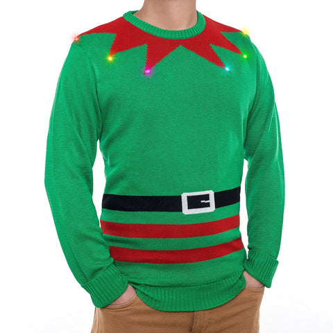 Mr. Christmas LED Light Up Elf Sweater       Free Shipping 48 States
