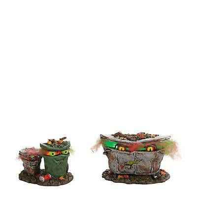 Dept 56 Halloween 2011 Spooky Trash Cans #4024036 MIB