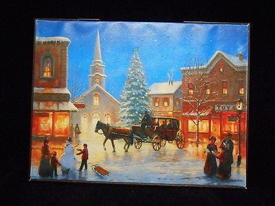 "Mr. Christmas Illuminart Reversible Canvas Village 12"" x 16"" #10263M NEW"