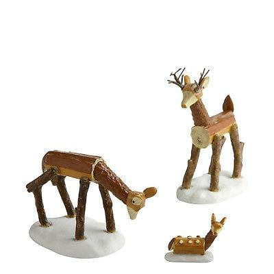Dept 56 2011 Wooden Deer Family #4020253 FREE SHIPPING