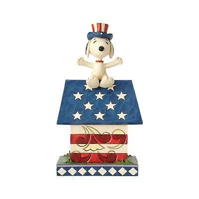 Jim Shore Peanuts 2017 Snoopy Patriotic Doghouse #4059438 NIB FREE SHIP 48 STATE