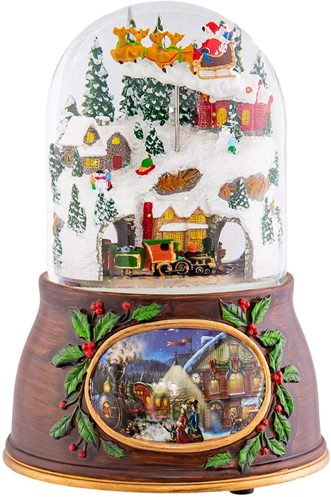 "Roman Musical Village with Santa Train Snow Dome 6""    #132012   Free Shipping"