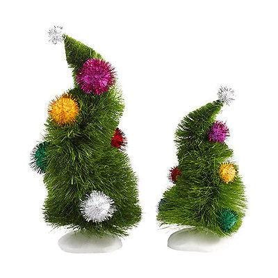 Dept 56 Grinch 2013 Wonky Trees Set/2 #4032417 NIB FREE SHIPPING