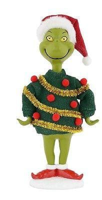 Dept 56 Grinch 2015 Grinch In Ugly White Sweater #4040597 NEW FREE SHIP 48 STATE